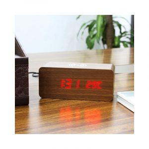 Wood-Look Wireless Qi Charging LED Alarm Clock