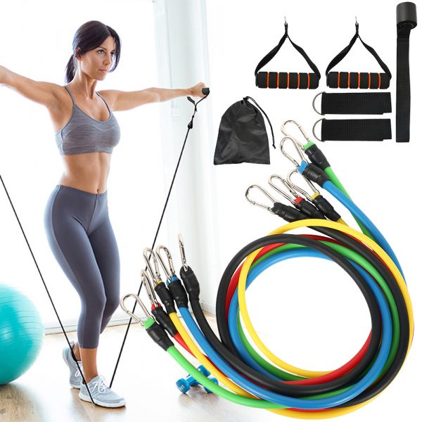 11 Pcs Fitness Pull Rope Latex Resistance Bands_1