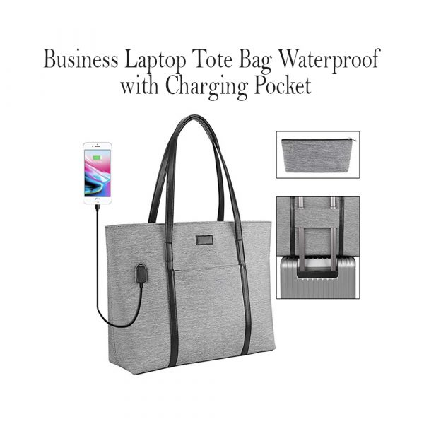 Business Laptop Tote Bag Waterproof with USB Charging Pocket_0