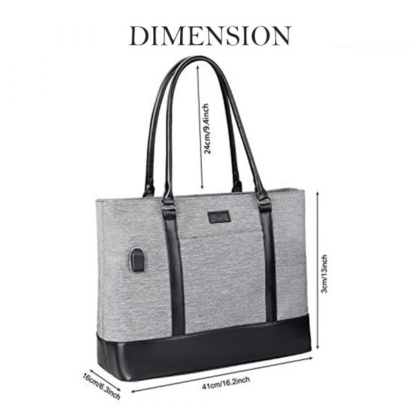 Business Laptop Tote Bag Waterproof with USB Charging Pocket_3