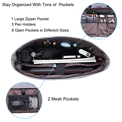 Business Laptop Tote Bag Waterproof with USB Charging Pocket_4