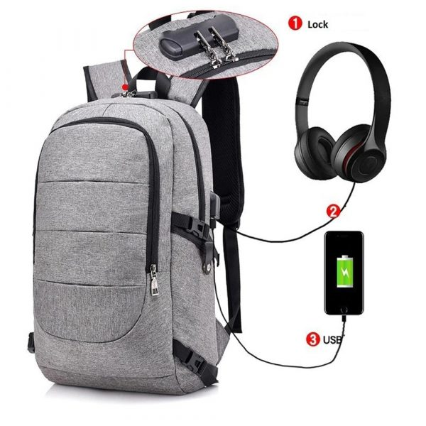 Waterproof Laptop Backpack with USB Port, Anti-theft_0