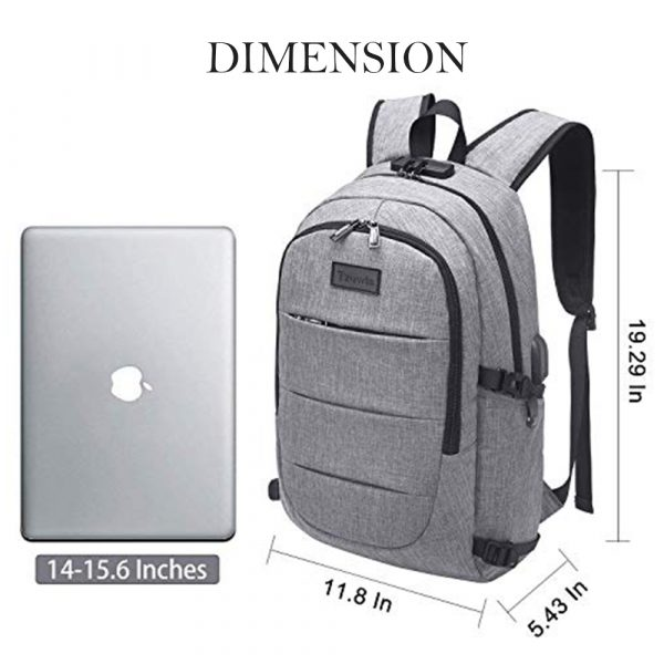 Waterproof Laptop Backpack with USB Port, Anti-theft_12