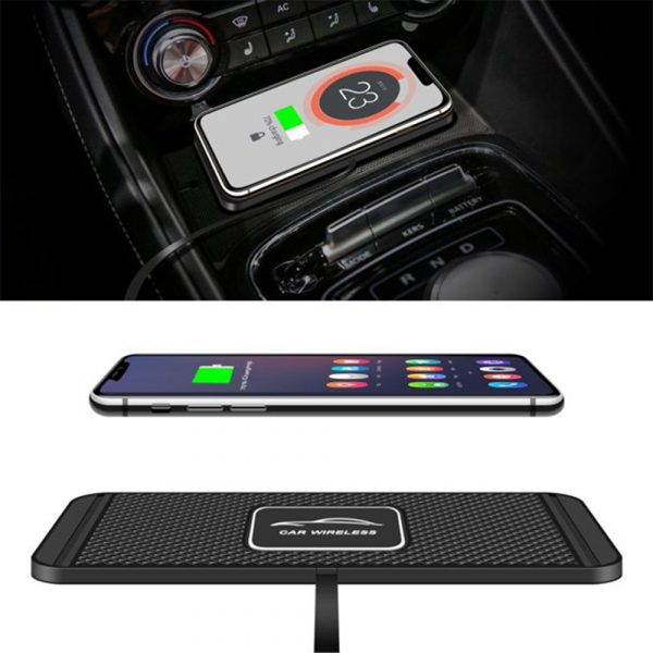 2 In 1 Anti-Slip Silicone Pad Qi-Powered Fast Wireless Charger Car Dashboard_0