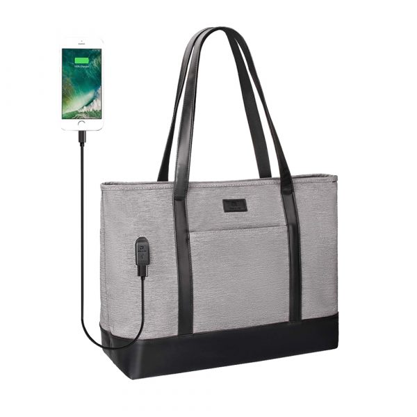 Business Laptop Tote Bag Waterproof with USB Charging Pocket_7