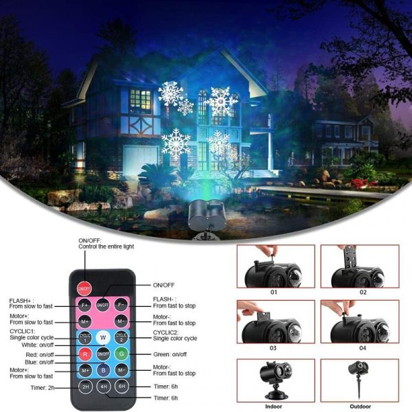 2 in 1 Christmas Holiday Projector Lights with Ocean wave Light 16 Film Options_7