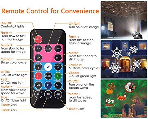 2 in 1 Christmas Holiday Projector Lights with Ocean wave Light 16 Film Options_10
