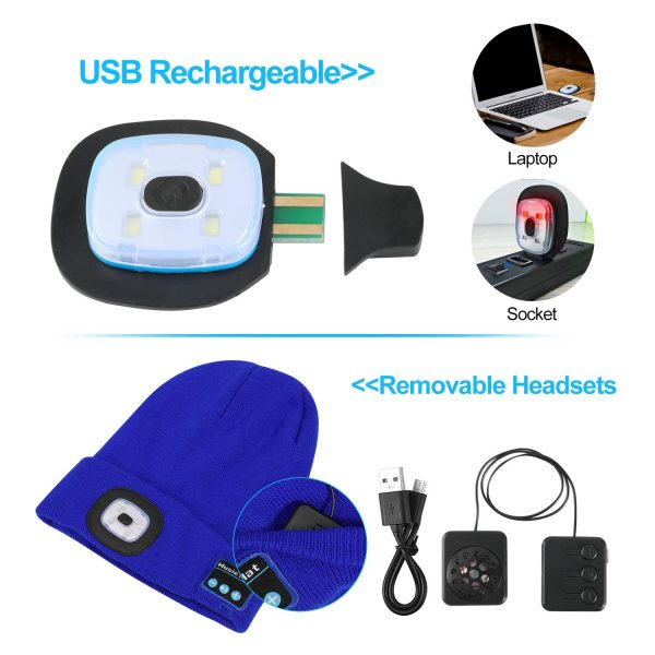 Bluetooth Music Knitted Hat with LED Lamp Cap_1