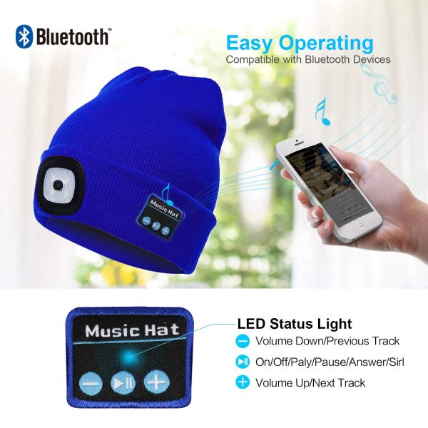 Bluetooth Music Knitted Hat with LED Lamp Cap_2
