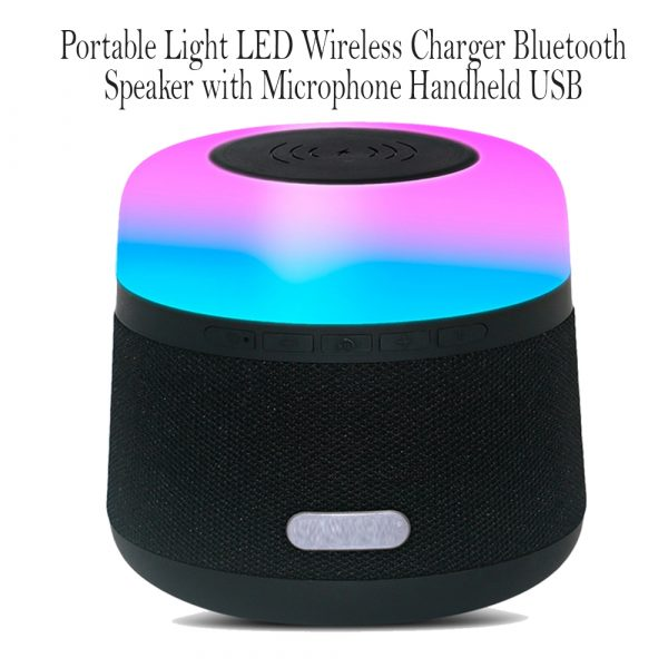 Portable Light LED Wireless Charger Bluetooth Speaker with Microphone Handheld USB_14
