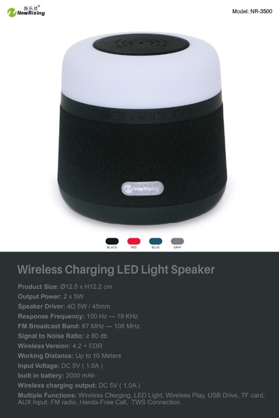 Portable Light LED Wireless Charger Bluetooth Speaker with Microphone Handheld USB_7