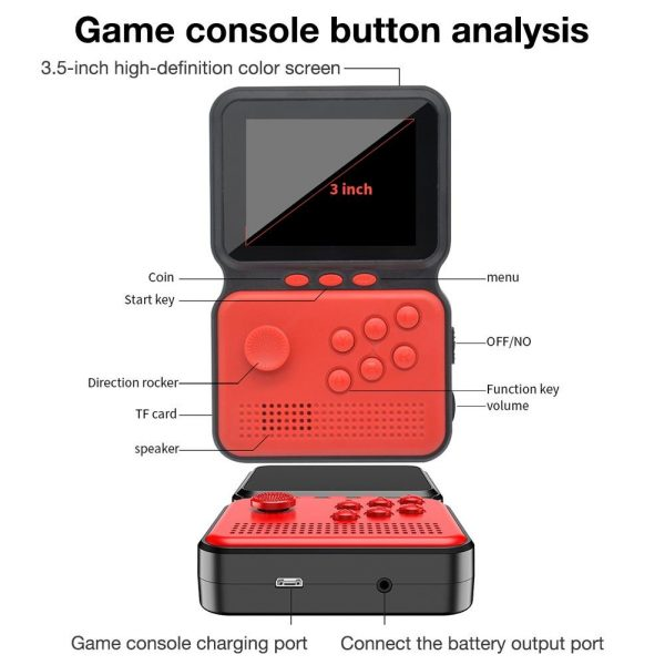 3 Inch Mini Rechargeable Handheld M3 Retro Game Controller, 900+ Classic Games_1