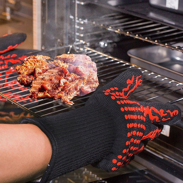 1 Pair 2 Hand 500 degrees High Temperature Resistant Food Oven Glove_6