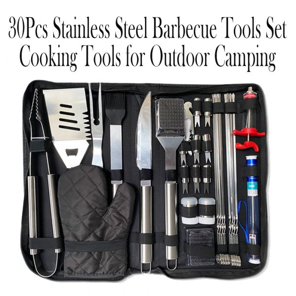 30Pcs Stainless Steel Barbecue Tool Set and Cooking Tools for Outdoor Camping_12