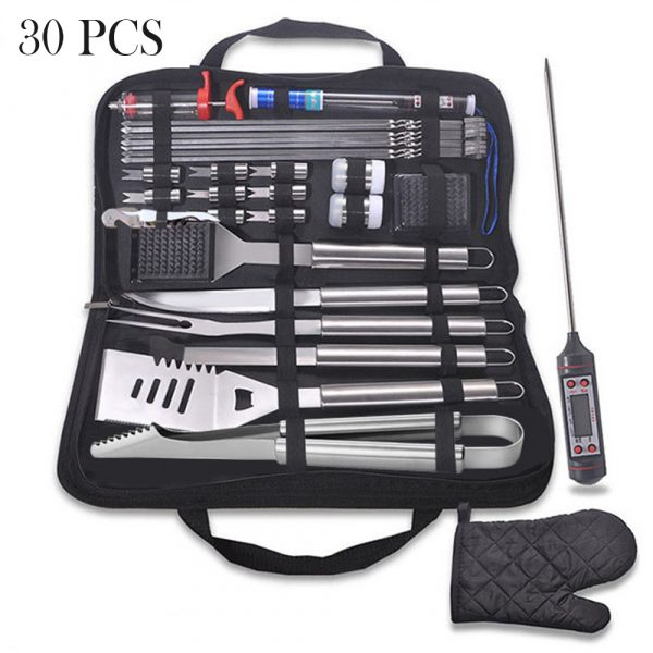 30Pcs Stainless Steel Barbecue Tool Set and Cooking Tools for Outdoor Camping_2