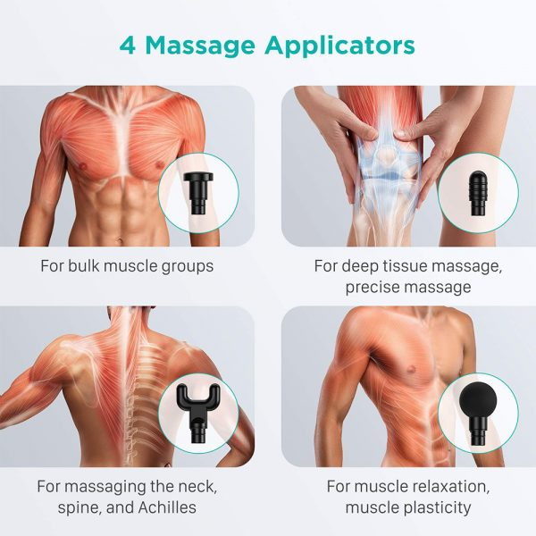 Rechargeable Electric Deep Muscle Tissue Massage Gun with 4 Massage Heads_2