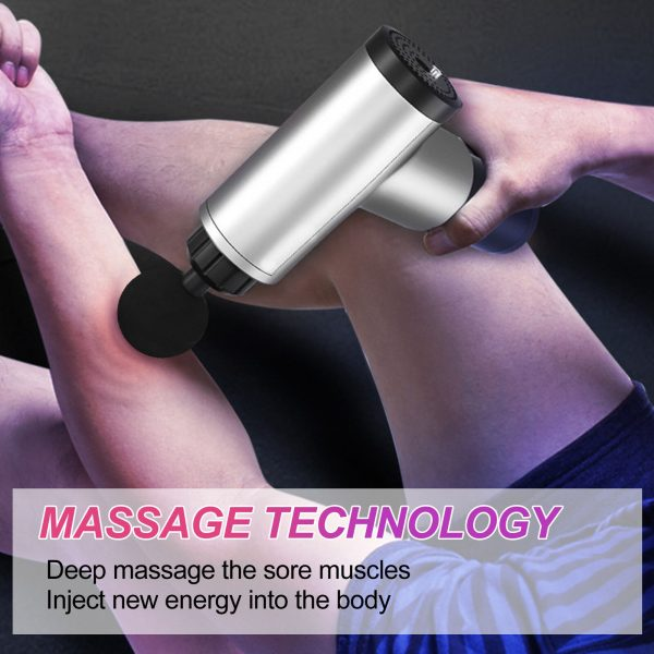 Rechargeable Electric Deep Muscle Tissue Massage Gun with 4 Massage Heads_4