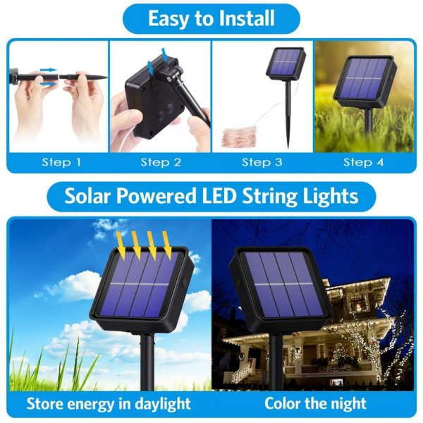 Waterproof Outdoor Solar LED Strip Mini String Lights 10M_21