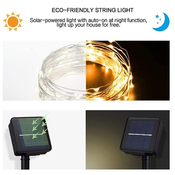 Waterproof Outdoor Solar LED Strip Mini String Lights 10M_17