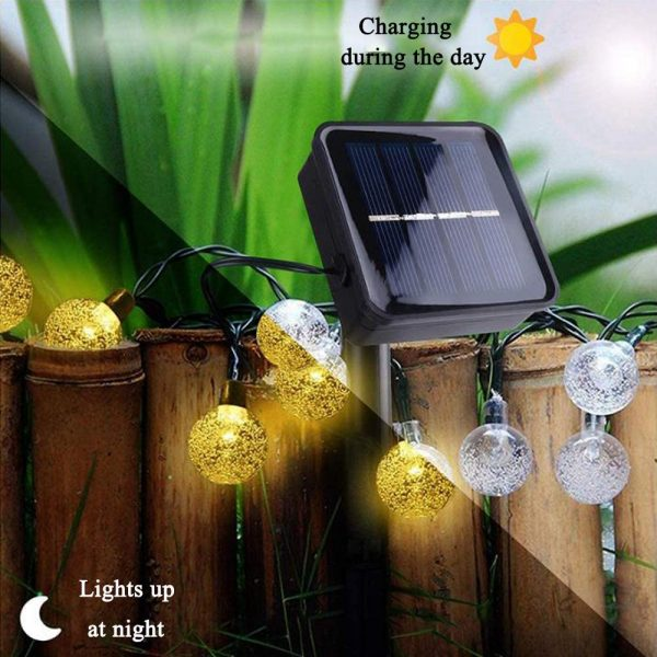 20/50 LED Solar Powered Outdoor Glass Ball Lamp_10