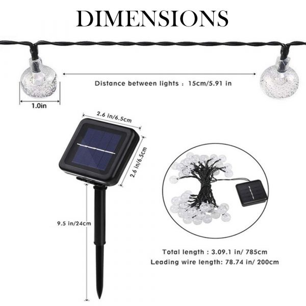 20/50 LED Solar Powered Outdoor Glass Ball Lamp_3