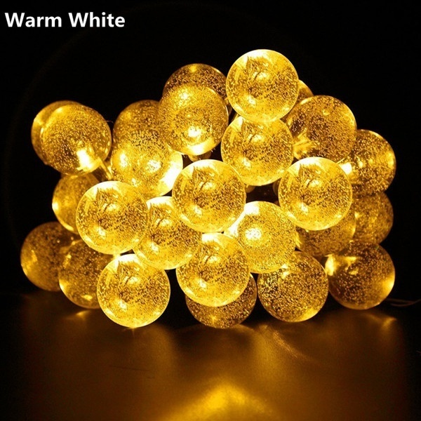 20/50 LED Solar Powered Outdoor Glass Ball Lamp_2
