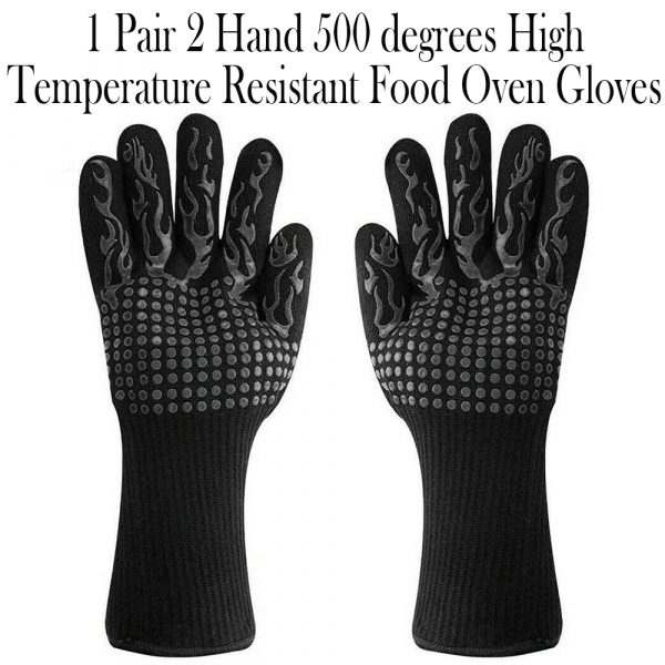 1 Pair 2 Hand 500 degrees High Temperature Resistant Food Oven Glove_8
