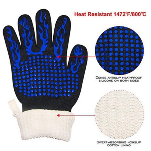 1 Pair 2 Hand 500 degrees High Temperature Resistant Food Oven Glove_1