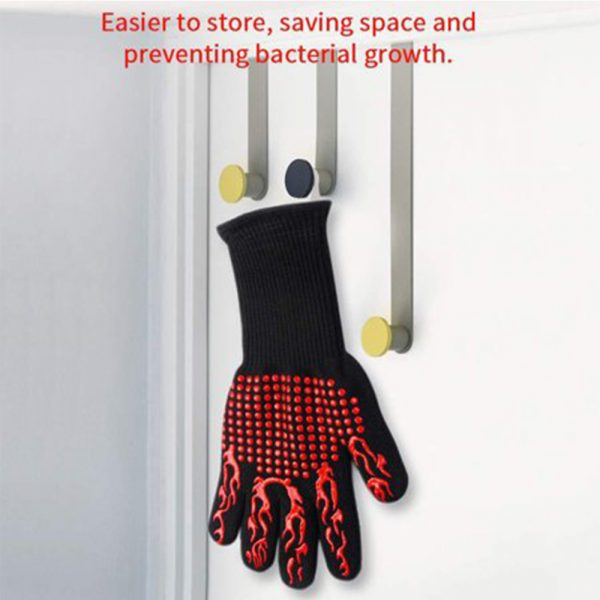 1 Pair 2 Hand 500 degrees High Temperature Resistant Food Oven Glove_2