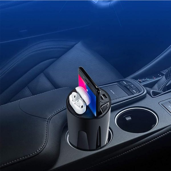 Qi Enabled Wireless Car Charger Cup with USB Output 10W Fast Charging for Qi Enabled Phones and Air Pods_5