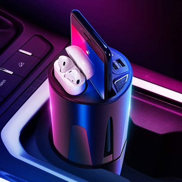 Qi Enabled Wireless Car Charger Cup with USB Output 10W Fast Charging for Qi Enabled Phones and Air Pods_6