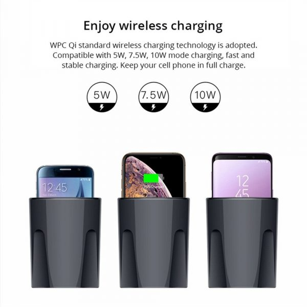 Qi Enabled Wireless Car Charger Cup with USB Output 10W Fast Charging for Qi Enabled Phones and Air Pods_9