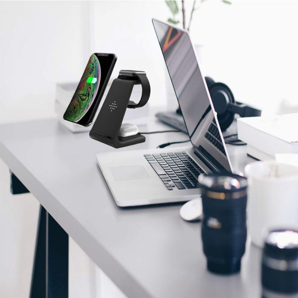 Folding mobile phone wireless charging bracket three in one_1