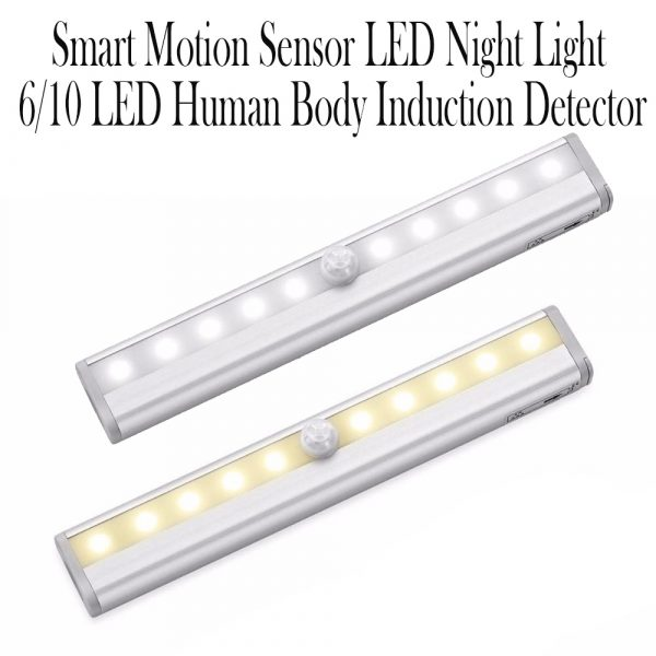 Smart Motion Sensor LED Night Light 6/10 LED Human Body Induction Detector for Home Bed Kitchen Cabinet Wardrobe Wall Lamp_9