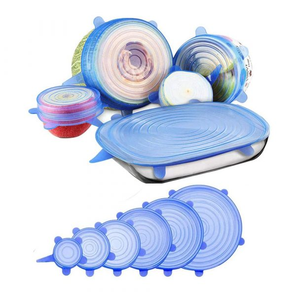 6 Pcs Reusable Universal Silicon Stretch Bowl Lids Kitchen Wrap Silicone Food Wrap Bowl Lid Kitchen Tools_0