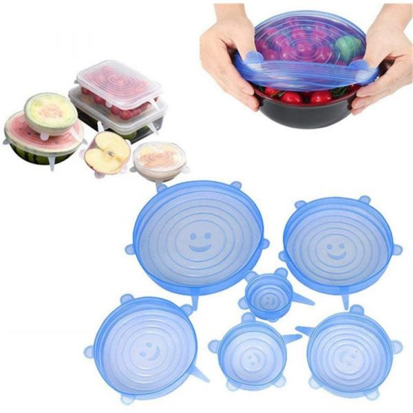 6 Pcs Reusable Universal Silicon Stretch Bowl Lids Kitchen Wrap Silicone Food Wrap Bowl Lid Kitchen Tools_1