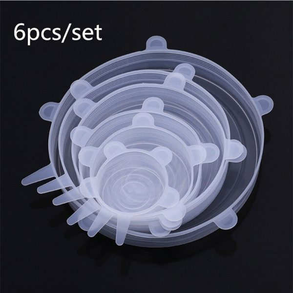 6 Pcs Reusable Universal Silicon Stretch Bowl Lids Kitchen Wrap Silicone Food Wrap Bowl Lid Kitchen Tools_7