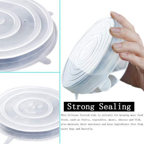 6 Pcs Reusable Universal Silicon Stretch Bowl Lids Kitchen Wrap Silicone Food Wrap Bowl Lid Kitchen Tools_11