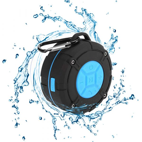 Waterproof Bluetooth Speaker with HD Sound, 6H Playtime Portable Speaker with Suction Cup, Built-in Microphone_0