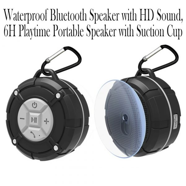 Waterproof Bluetooth Speaker with HD Sound, 6H Playtime Portable Speaker with Suction Cup, Built-in Microphone_15