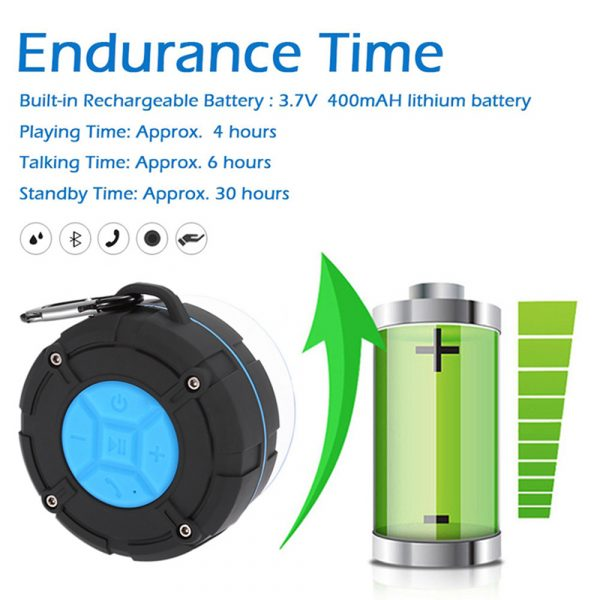 Waterproof Bluetooth Speaker with HD Sound, 6H Playtime Portable Speaker with Suction Cup, Built-in Microphone_7