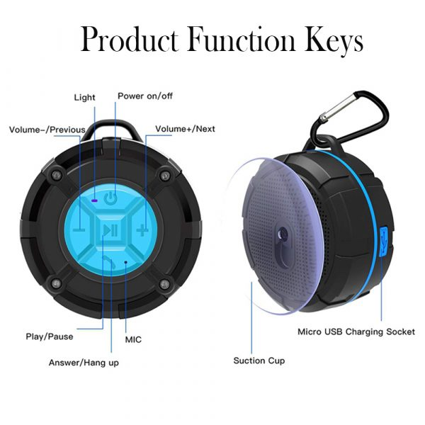 Waterproof Bluetooth Speaker with HD Sound, 6H Playtime Portable Speaker with Suction Cup, Built-in Microphone_10