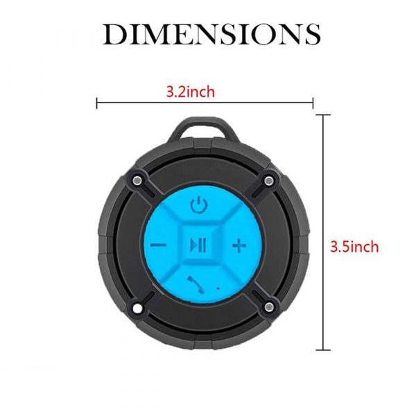 Waterproof Bluetooth Speaker with HD Sound, 6H Playtime Portable Speaker with Suction Cup, Built-in Microphone_11
