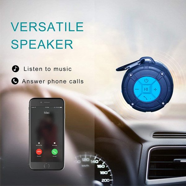 Waterproof Bluetooth Speaker with HD Sound, 6H Playtime Portable Speaker with Suction Cup, Built-in Microphone_12