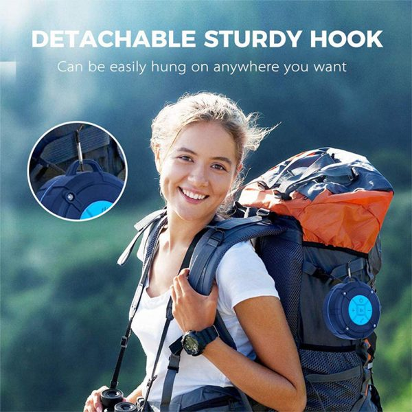 Waterproof Bluetooth Speaker with HD Sound, 6H Playtime Portable Speaker with Suction Cup, Built-in Microphone_14