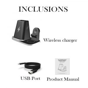 4-in-1 Universal Vertical Wireless QI Charging Station and Storage Box for APPLE QI Devices