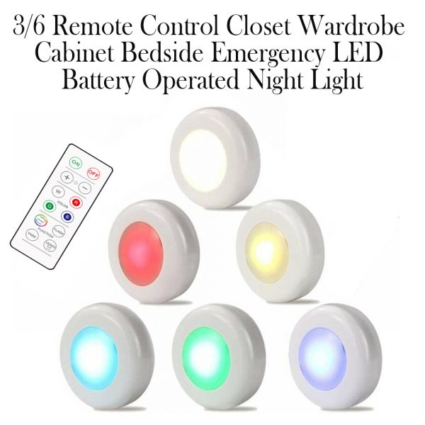 3 Remote Control Closet Wardrobe Cabinet Bedside Emergency LED Battery Operated Night Light_12