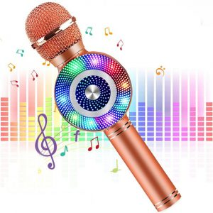 High Configuration Wireless Bluetooth Microphone with Large Speaker and LED Lights
