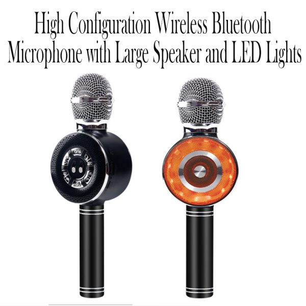 High Configuration Wireless Bluetooth Microphone with Large Speaker and LED Lights_9