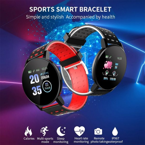Bluetooth Smartwatch Blood Pressure Monitor Unisex Watch and Fitness Tracker for Android iOS_17